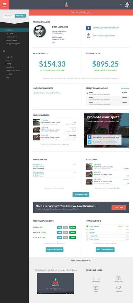 ParqEx App Update - Dashboard